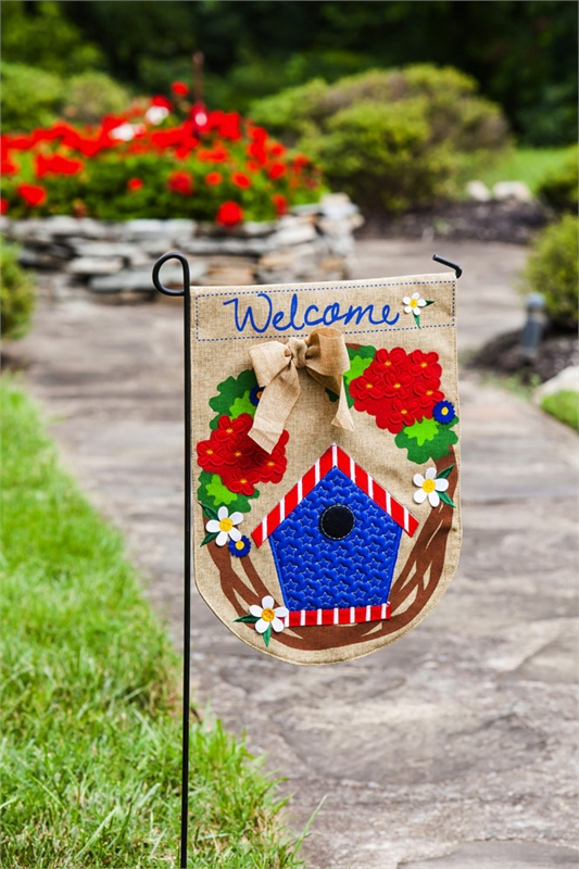 Patriotic Welcome Wreath Burlap Garden Flag