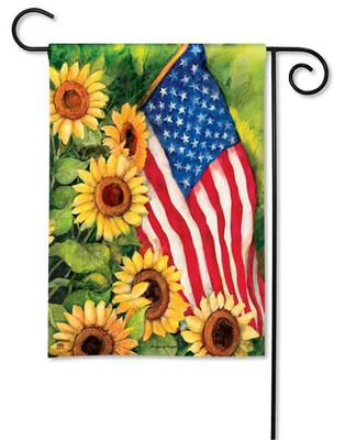 American Sunflowers Patriotic Garden Flag