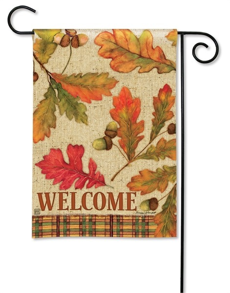 Burlap Leaves Garden Flag