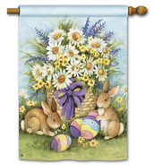 Easter Bunnies House Flag