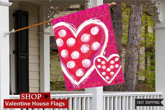 valentine wishes decorative flag created by artist victoria hutto is already a top seller at flags on a stick this lovely whimsical valentine outdoor - Decorative House Flags