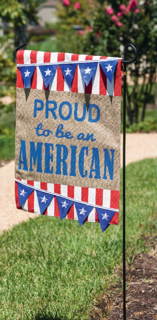 Proud to be An American Burlap Garden Flag