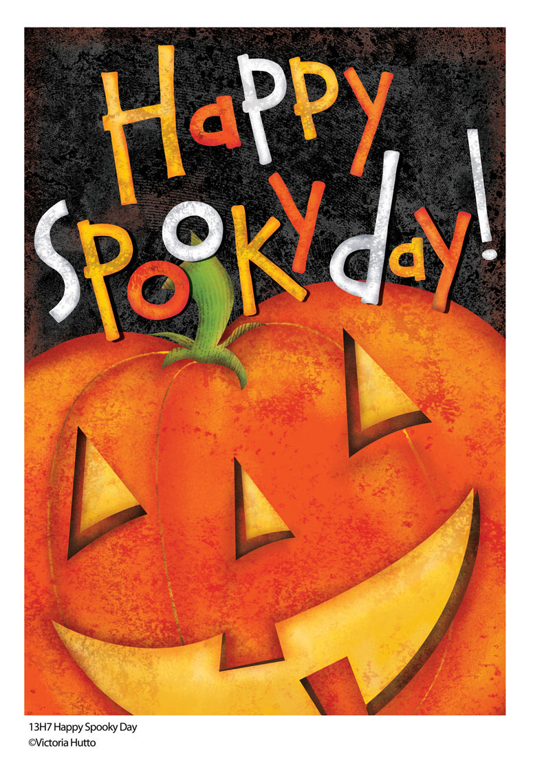 Happy Spooky Day Halloween Flag by Victoria Hutto